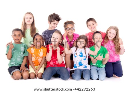 group of kids posing isolated in white - stock photo