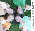 group of kids thumbs up - stock photo