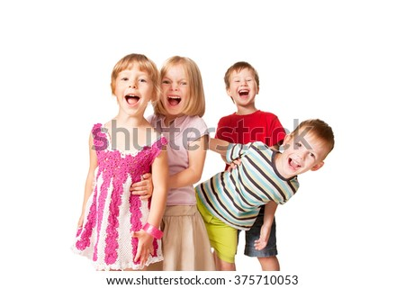 Group of little children having fun. Isolated on white background - stock photo