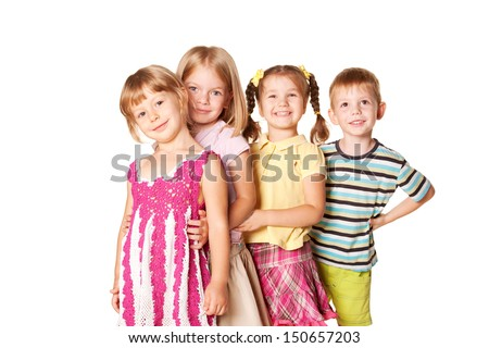 Group of little children playing and smiling. Childhood concept, ready for your text, logo or symbols. Isolated on white background. - stock photo