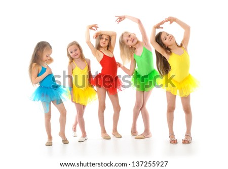 Group of little funny ballet dancers - stock photo