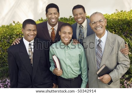 Group of male churchgoers, portrait - stock photo