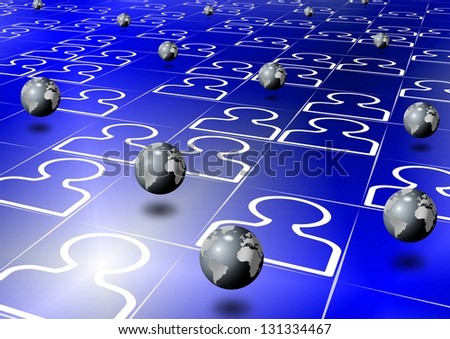 Group of man icons with earth globes between them / Social network - stock photo