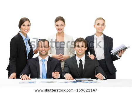 Group of managers debating while sitting at the table, isolated on white. Concept of teamwork and cooperation - stock photo