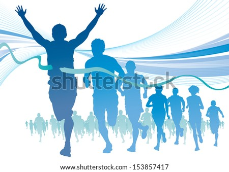 Group of Marathon Runners on abstract swirl background.  - stock photo