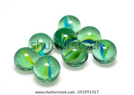 Group of Marbles Colorful with shadow on white background - stock photo