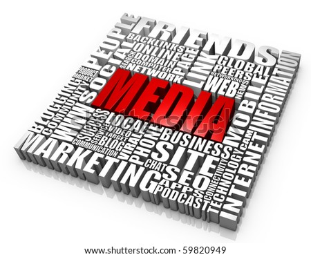 Group of media related words. Part of a series. - stock photo