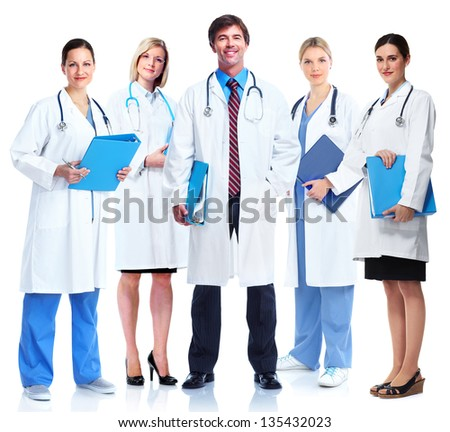 Group of medical doctors. Isolated on white background. - stock photo
