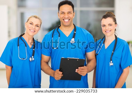group of medical experts in hospital - stock photo
