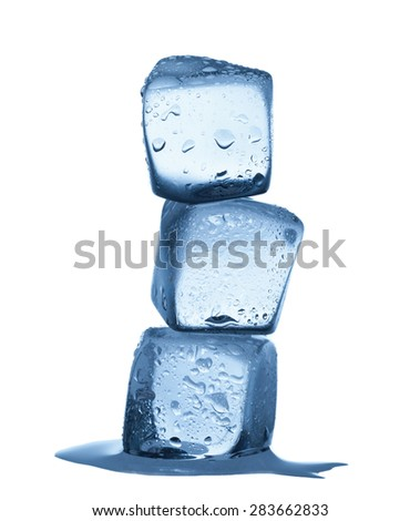 Group of melting ice cubes isolated on white background - stock photo