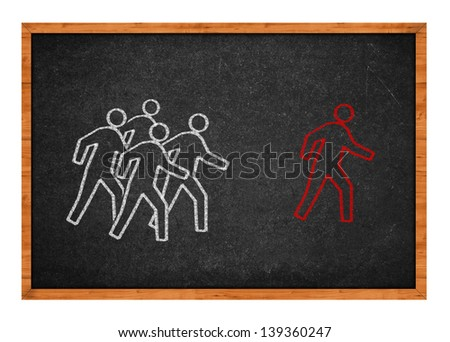 Group of men chasing after man, simple illustration on black chalkboard. - stock photo