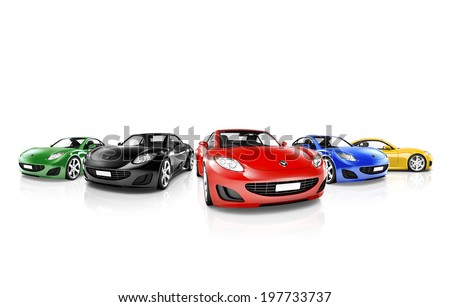 Group of Multi Colored Modern Cars - stock photo