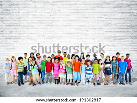 Group of multi-ethnic happy children. - stock photo