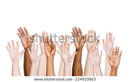 Group of multi-ethnic people's arms outstretched in a white background. - stock photo