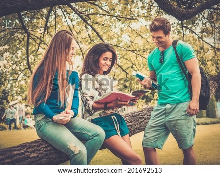 Group of multi ethnic students in a city park  - stock photo