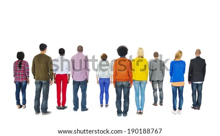 Group of Multiethnic Colorful People Facing Backwards - stock photo