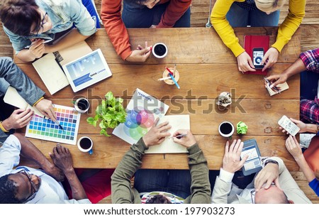 Group of Multiethnic Designers Brainstorming - stock photo