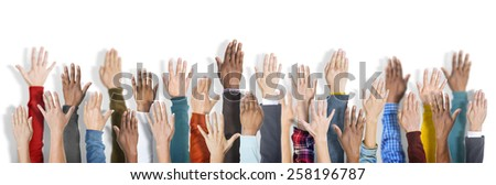 Group of Multiethnic Diverse Hands Raised Concept - stock photo