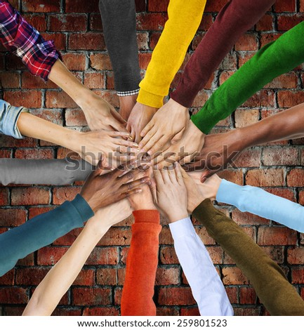 Group of Multiethnic Diverse Hands Together - stock photo