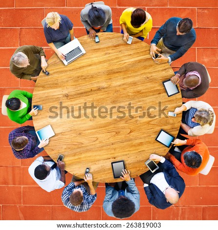 Group of Multiethnic People Connected Digital Devices Concept - stock photo