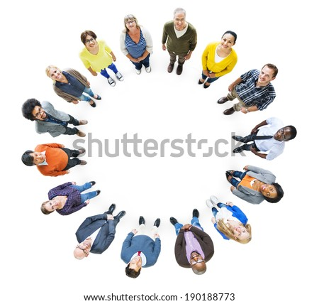 Group of Multiethnic People Looking Up - stock photo