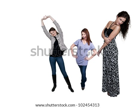Group of multiple very beautiful young women - stock photo