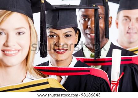 group of multiracial college graduates closeup portrait - stock photo