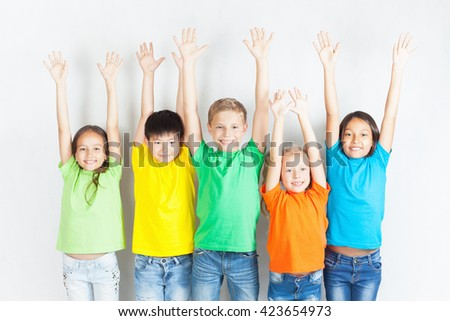 Group of multiracial funny children.  - stock photo