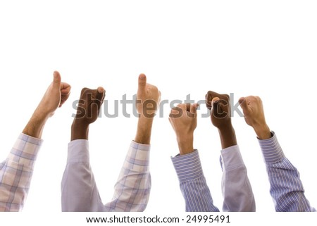 group of multiracial hands gesturing ok (isolated on white) - stock photo