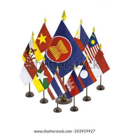 group of national flags for the AEC countries, asean economic co - stock photo