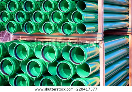 group of new plastic tubes - stock photo
