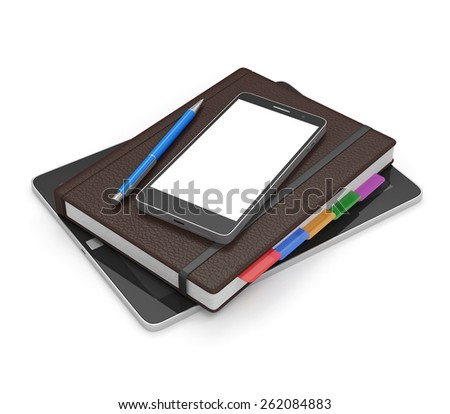 Group of Office Equipment and Accessories: Tablet PC, Notebook, Modern Smart Phone and Pen isolated on white background - stock photo
