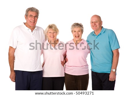 Group of older mature friends relaxing after exercise at the gym - stock photo
