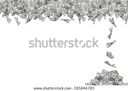Group of one hundred dollar banknotes flying and falling down one by one, isolated on white background. - stock photo