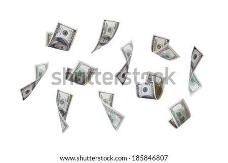 Group of one hundred dollar banknotes flying, isolated on white background. - stock photo