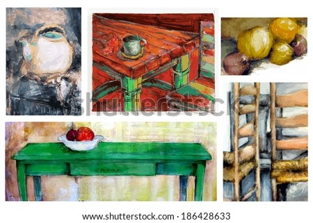 Group of Original Still Life Paintings - stock photo