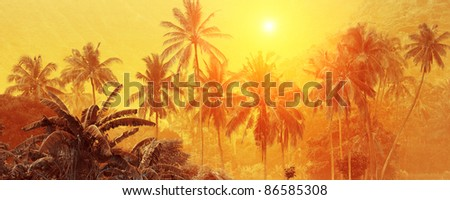 Group of palm trees on yellow background with sun disc - stock photo