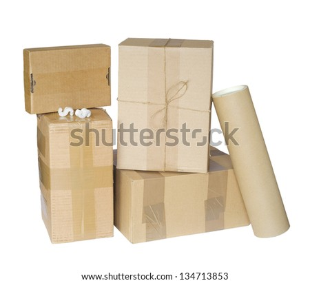 group of parcels / packages, isolated on white background - stock photo