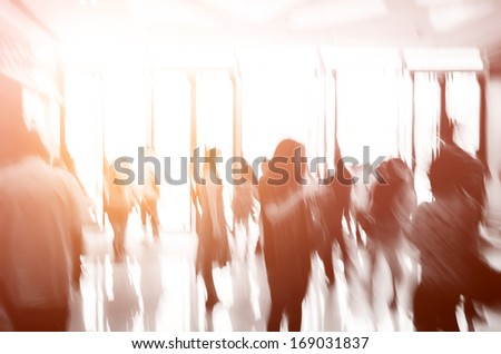 group of people activity, walking in the lobby. - stock photo