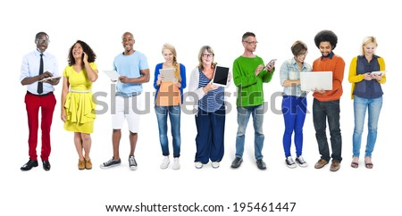 Group of People and Digital Devices Concept - stock photo