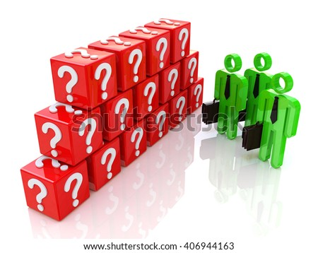Group of people and question mark. 3d rendered illustration.3D Illustration - stock photo