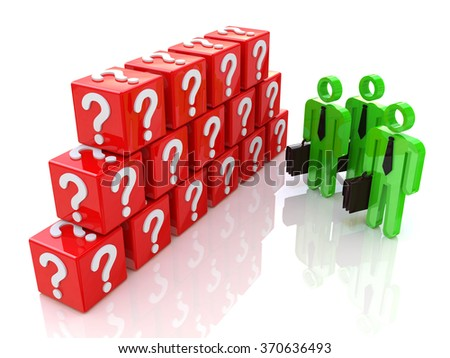 Group of people and question mark. 3d rendered illustration in the design of information related to the problems and issues - stock photo