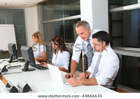 group of people attending business training - stock photo