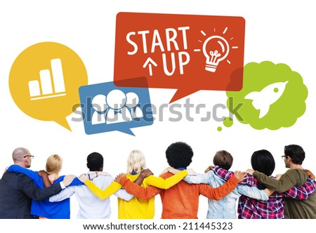 Group of People Backwards with Startup Concept - stock photo