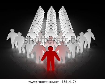 Group of people being led by a leader - stock photo