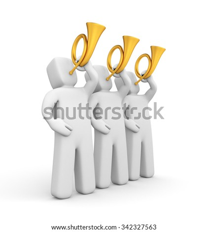 Group of people blows a horns - stock photo