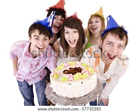 Group of people celebrate happy birthday with cake. Isolated. - stock photo