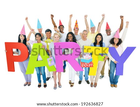 Group of people celebrating and holding the word party. - stock photo