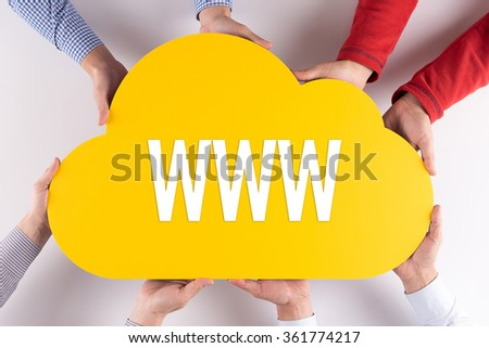 Group of People Cloud Technology WWW Concept - stock photo