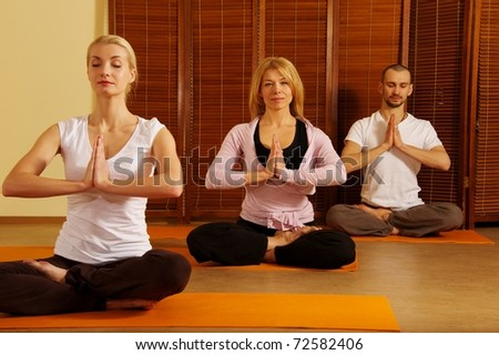 Group of people doing yoga exercise - stock photo